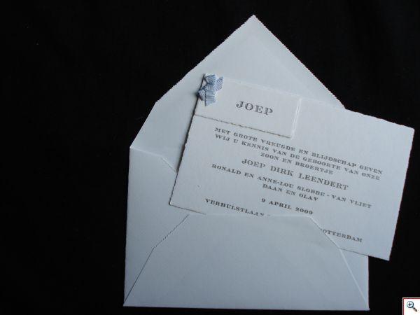 LetterPress, Geboortenkaarten met strikjes, Handgeschept papier